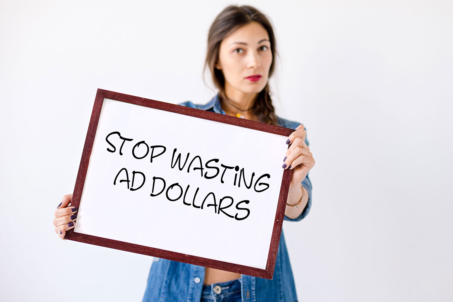 Woman Holding Advertising Sign