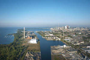 Aerial shot by Summer Leigh of the Leslie St. shipping channel.