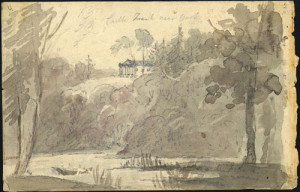 View of Castle Frank from the Don Valley. Watercolour painting by Elizabeth Simcoe courtesy of the Archives of Ontario.