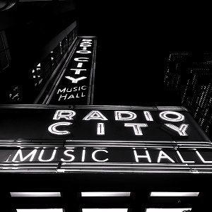 black and white photo of radio city music hall in New York City