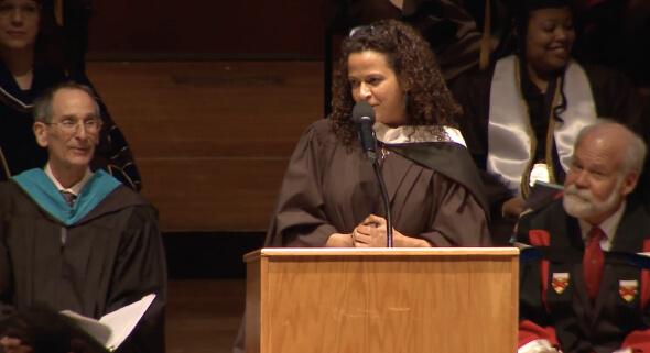 Keynote speaker Alison Stewart at graduation commencement