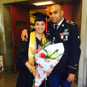 Sayashmini Madhow and her husband at her undergraduate graduation