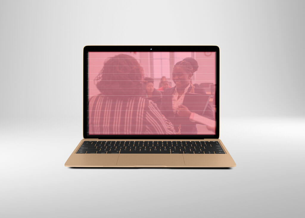 computer and image of people meeting