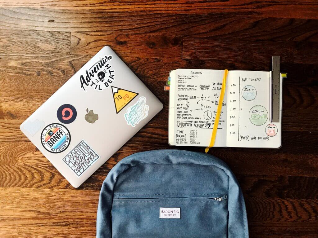 desk with laptop, book bag and notebook