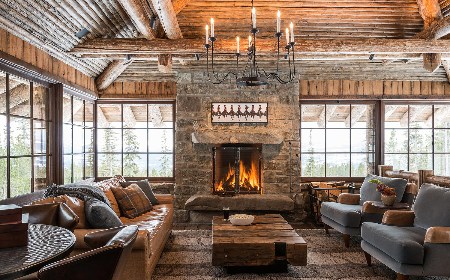 Log Home Great Room Ideas | Pearson Design Group