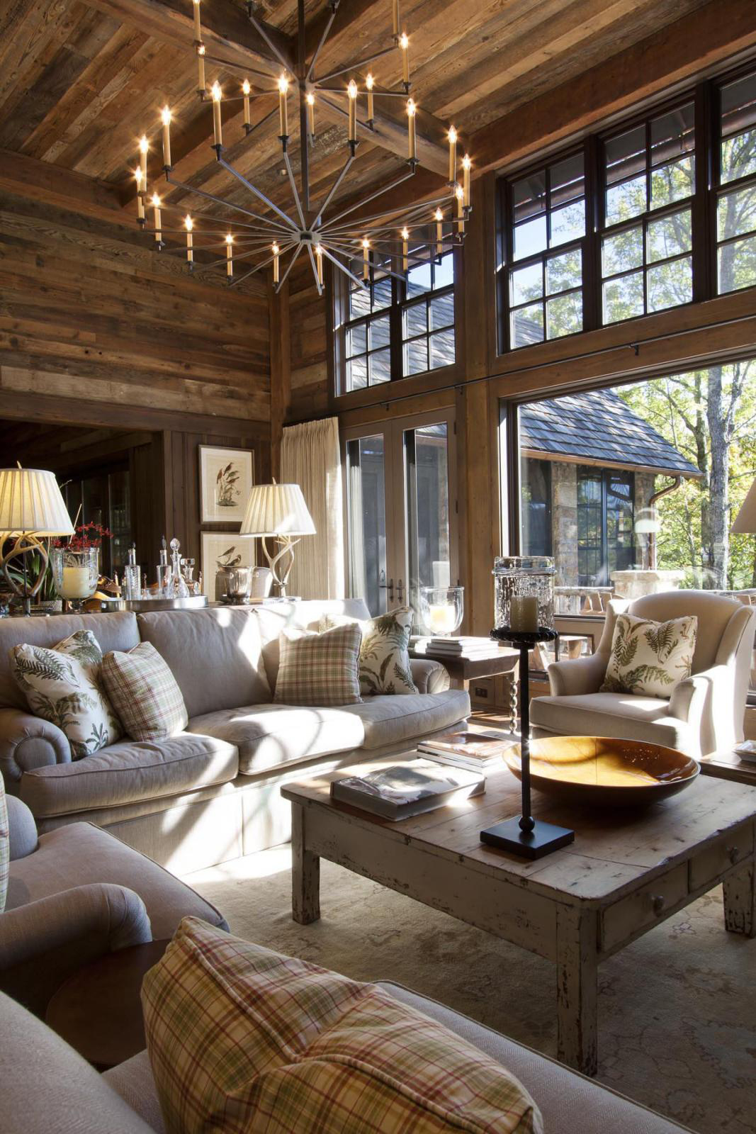 Log Home Living Room Ideas | Pearson Design Group