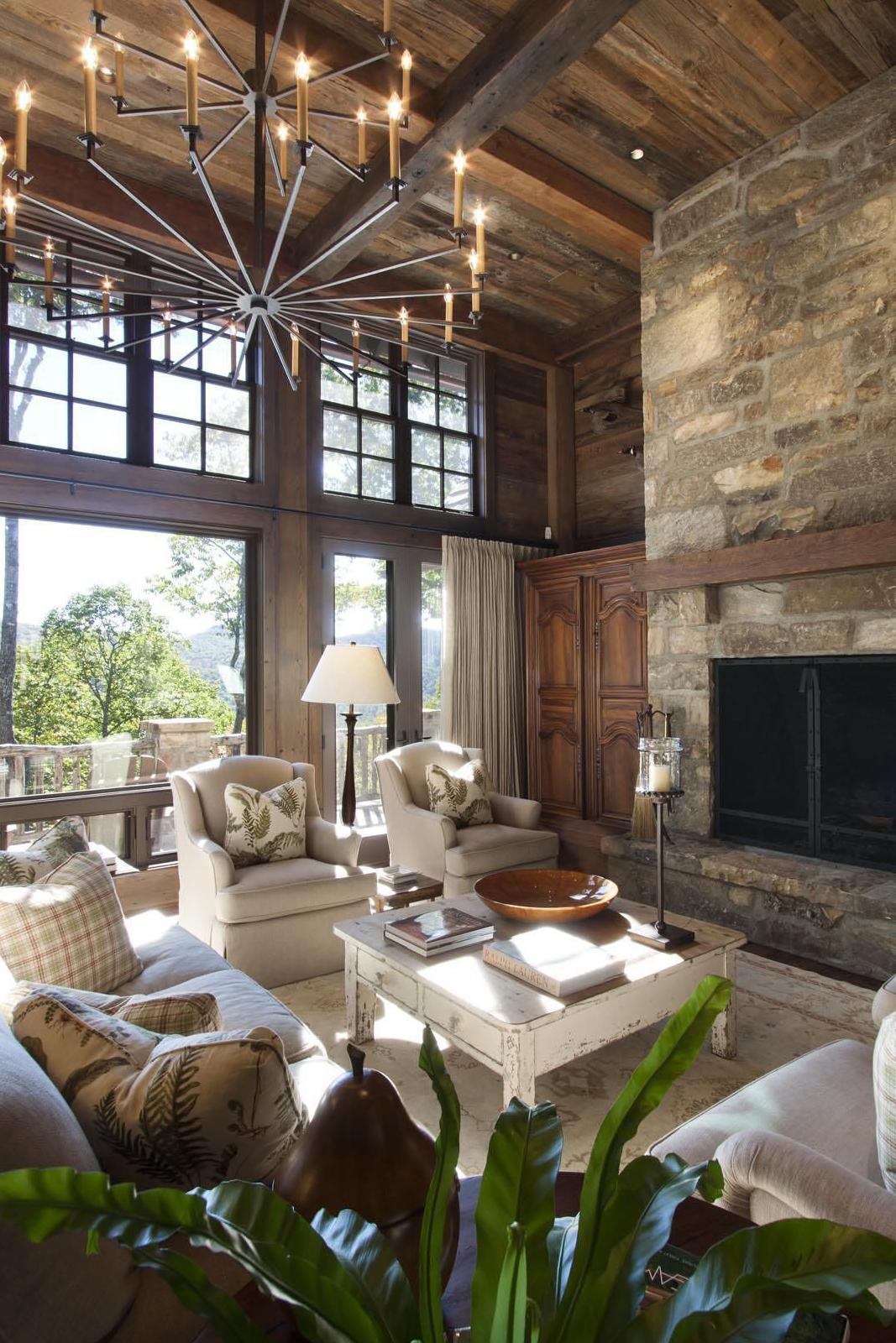 Log Home Living Room Ideas | Pearson Design Group