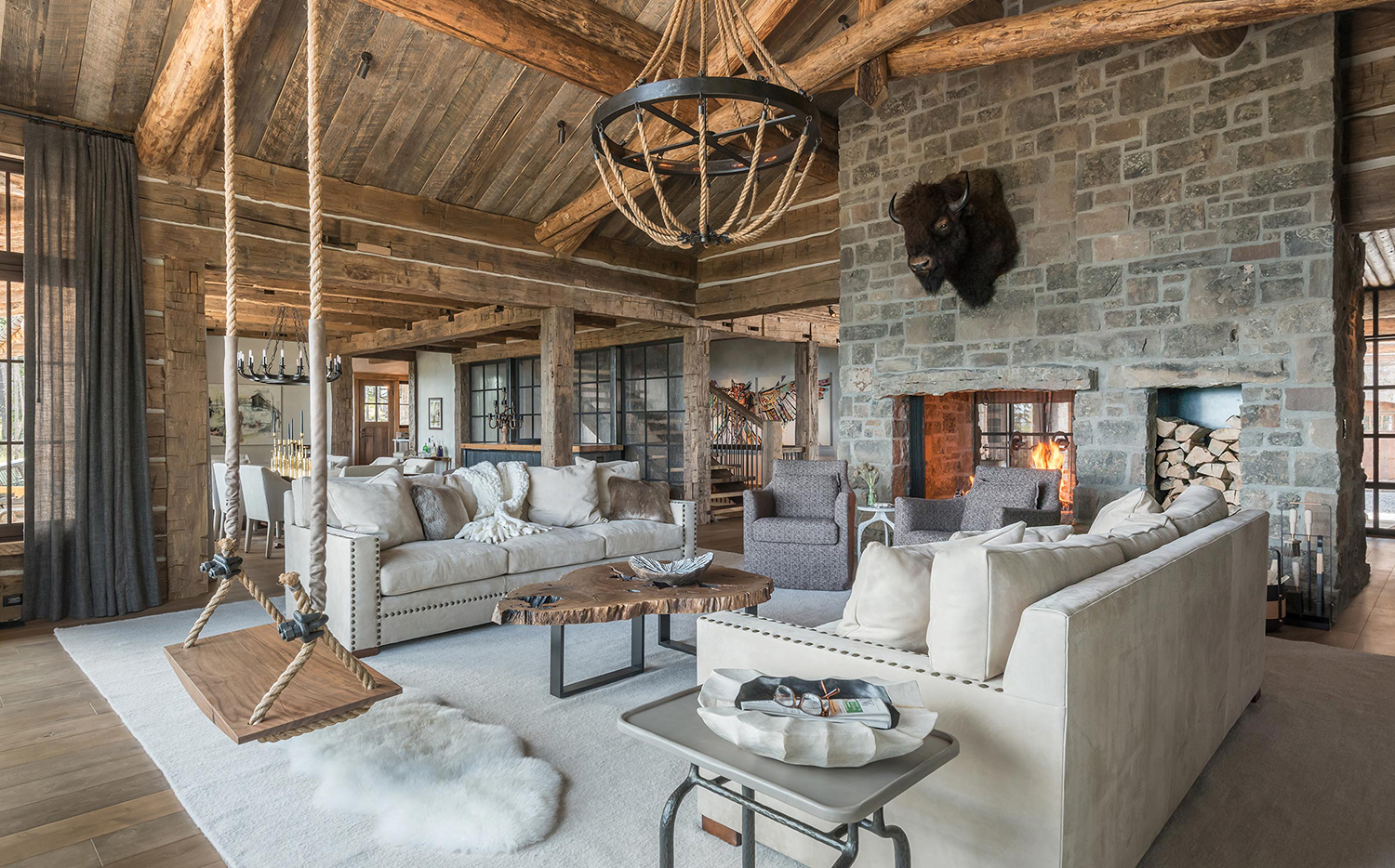 Log Home Great Rooms | Pearson Design Group
