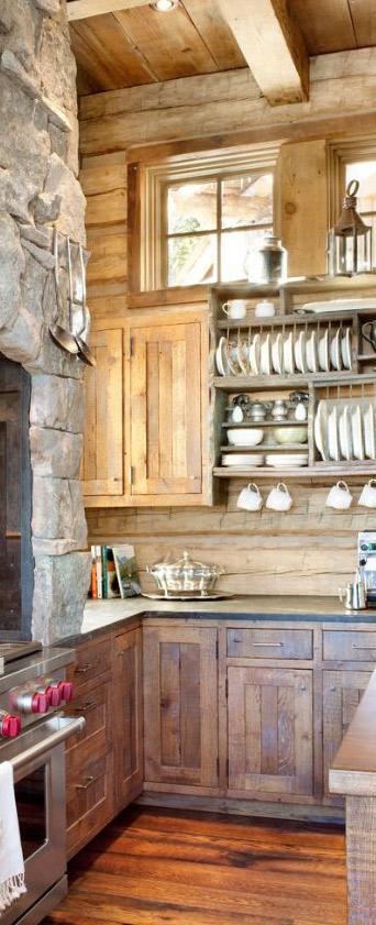 Peace Design   Log Home Kitchen