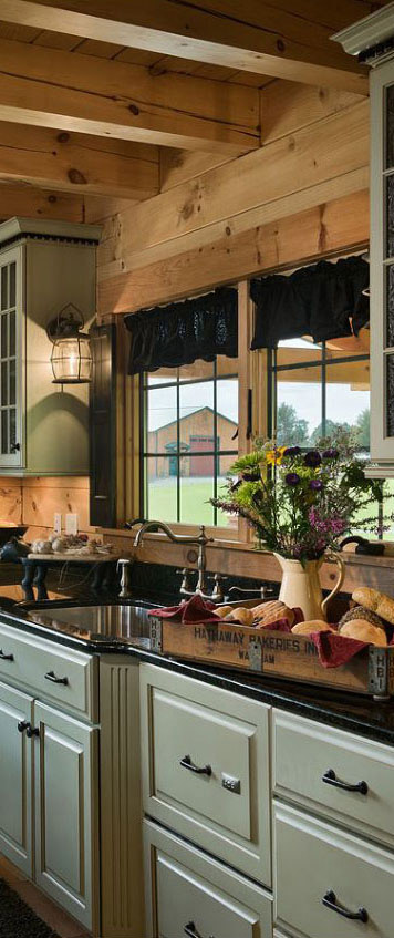 Coventry Log Homes Rustic Kitchen