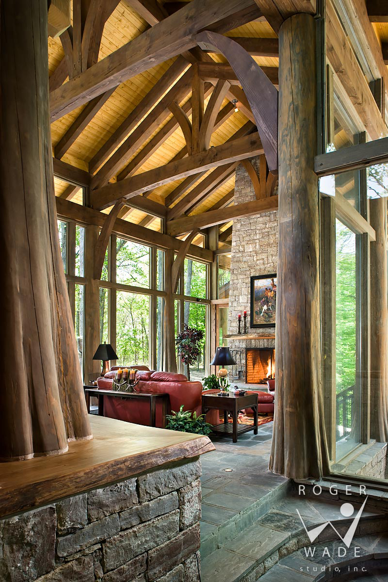 Log Home Living Room | Roger Wade Studio