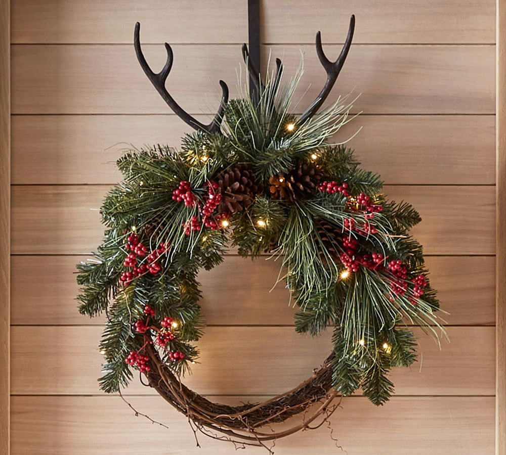Pre-Lit Faux Red Berry & Pine Wreath