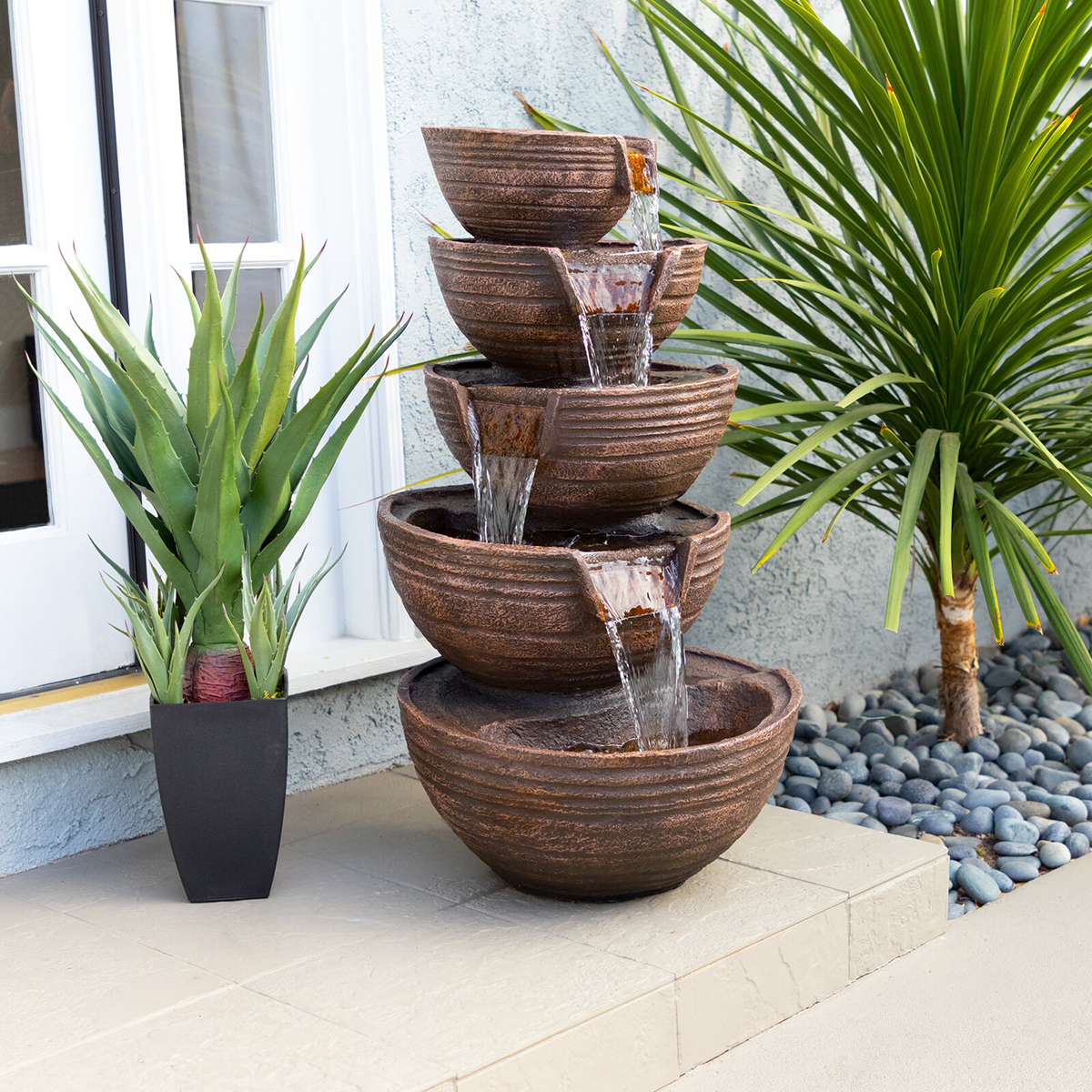 Rustic Tiered Waterfall Fountain with Lighting