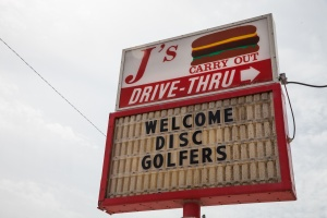J's Burger Welcome Disc Golf Sign