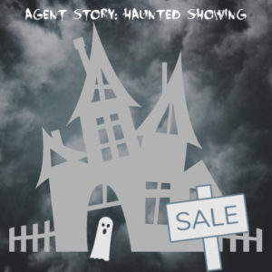 Haunted showing - house with ghost and for sale sign graphic
