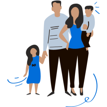 A cartoon image of a family helped by the JailAid website.