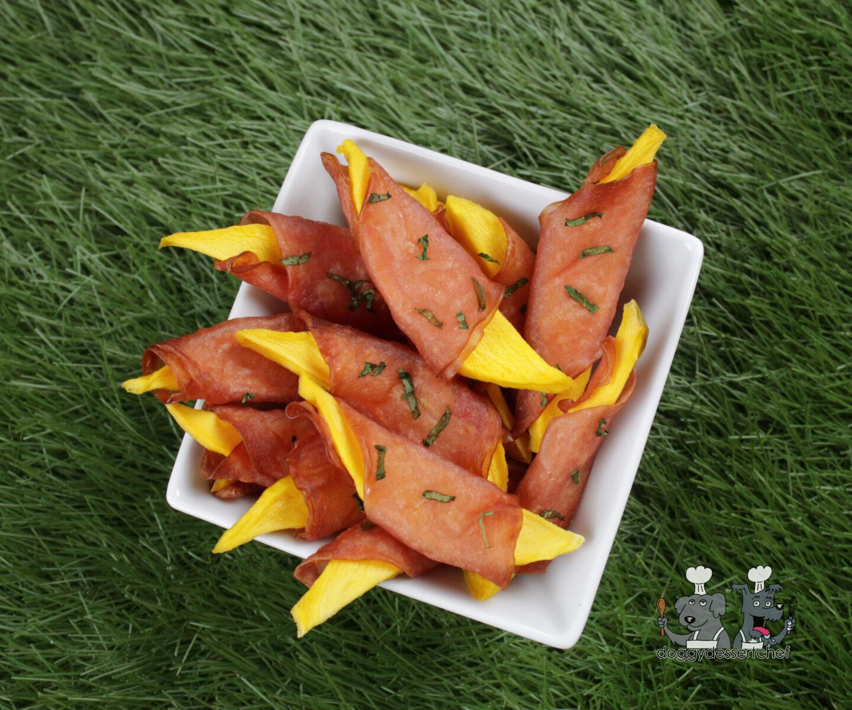 ham wrapped mango dog treat recipe