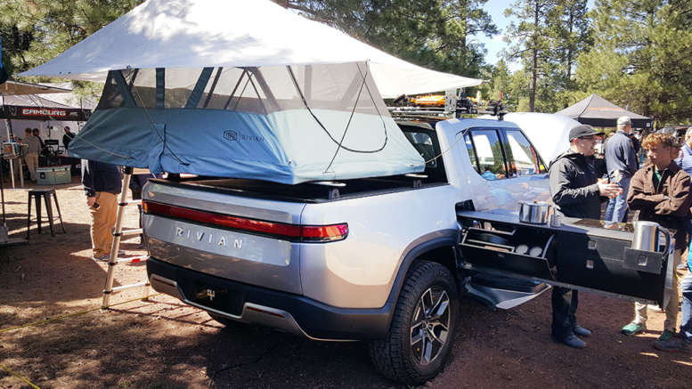rivian r1t electric truck with overland options