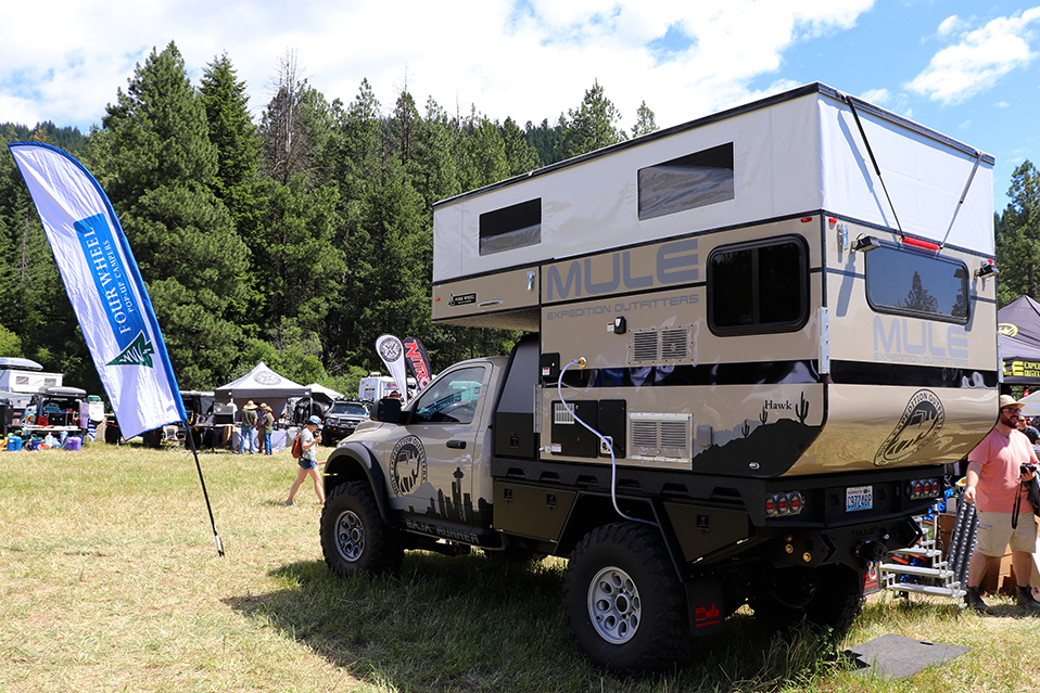 mule expedition outfitters with four wheel campers at northwest overland rally near leavenworth washington