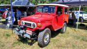 red 1978 toyota fj40 with cummins 2.8r turbo diesel engine
