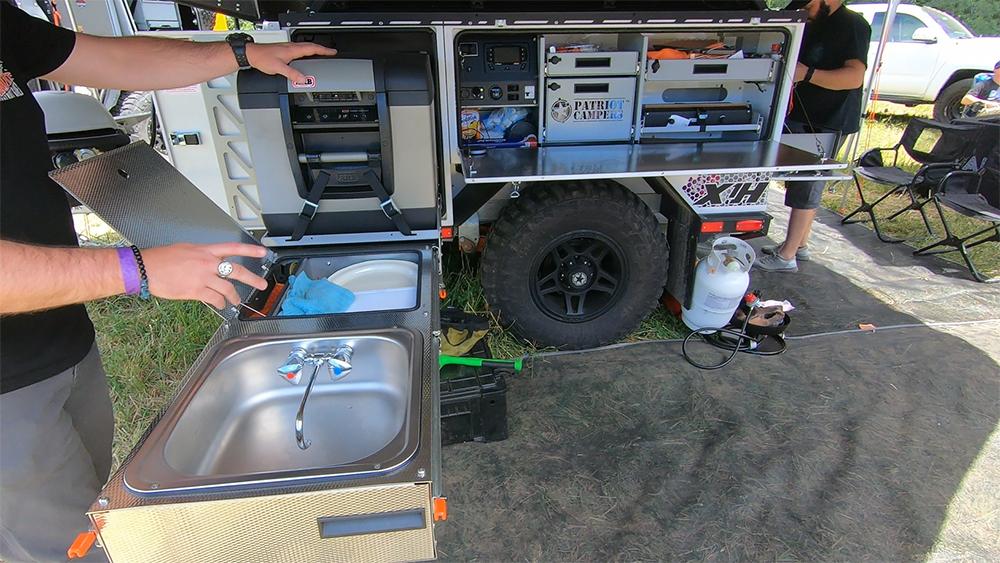 patriot camper slide out kitchen and fridge