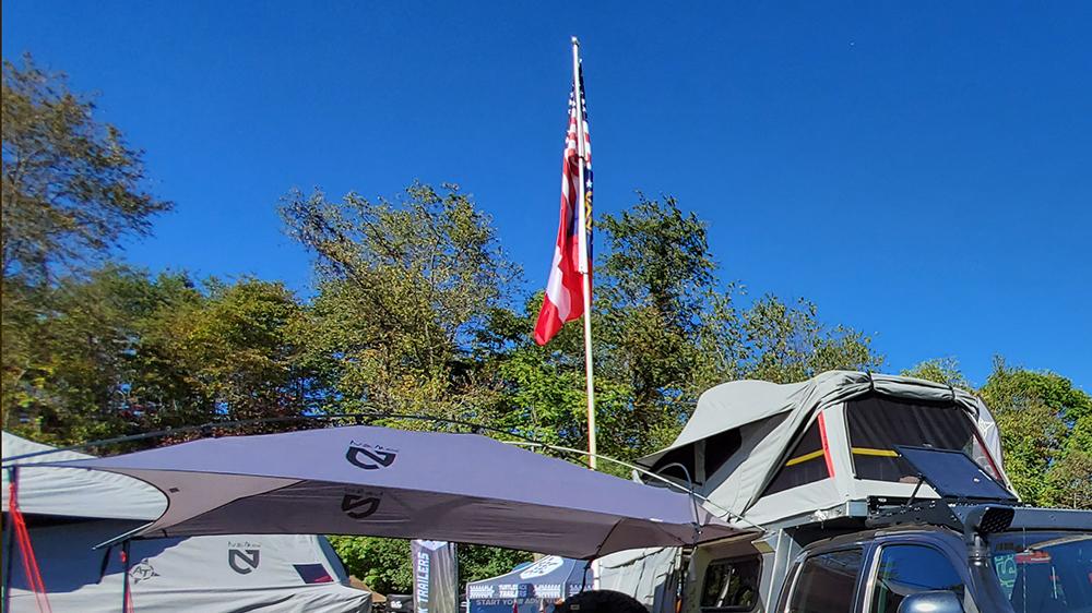 rv flag pole overland tacoma