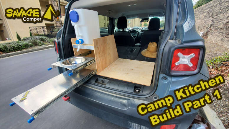 suv camp kitchen build slide out table sink