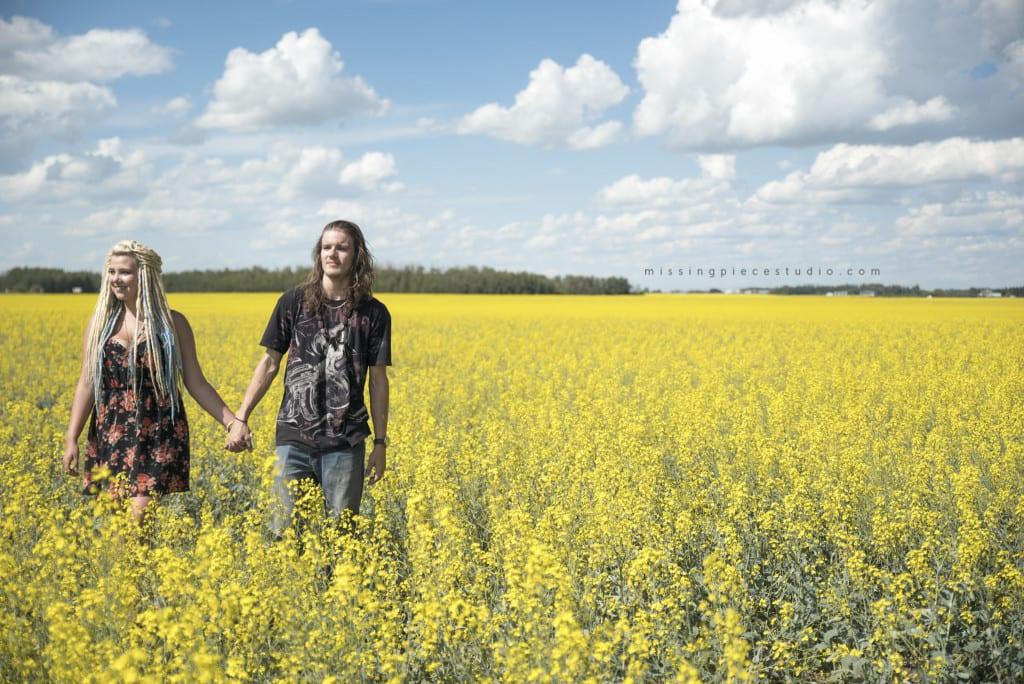 014-Edmonton Canola Field Engagement Couple Photography Session-