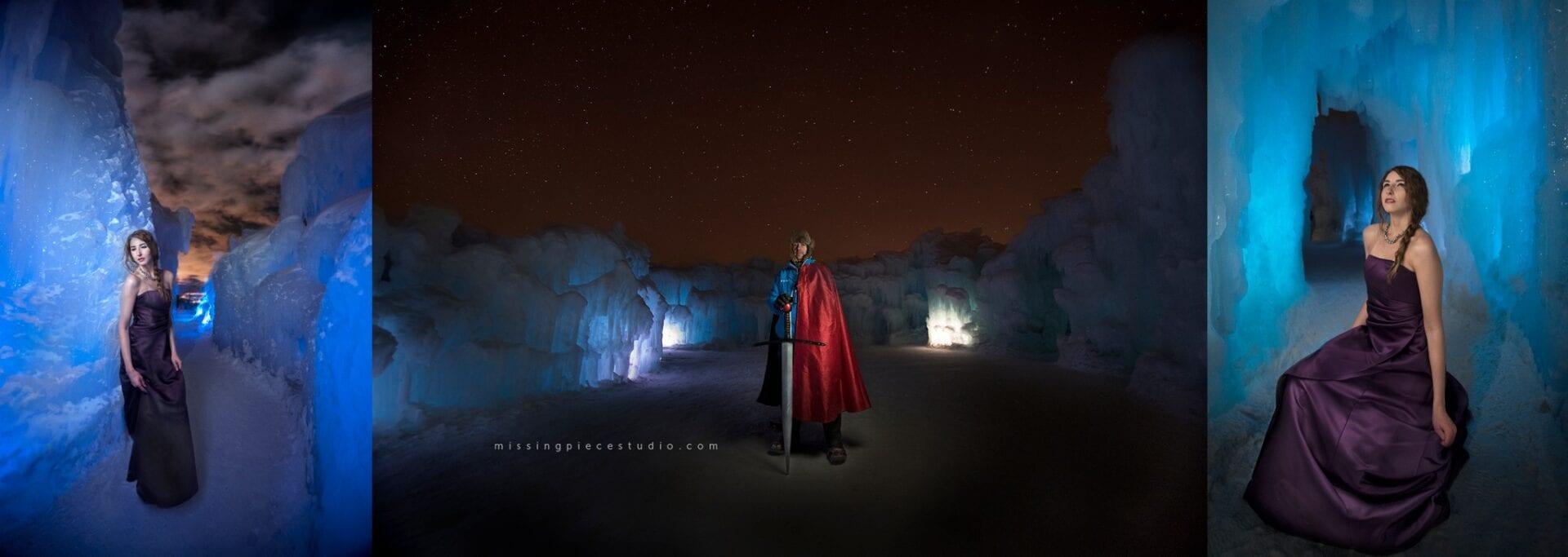 a beautiful grad dress taken in edmonton ice castles