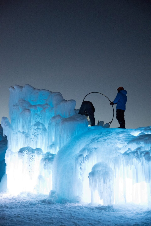 Ice Castles Edmonton Alberta Winter Visit Hawrelak Park-blue hour sunset