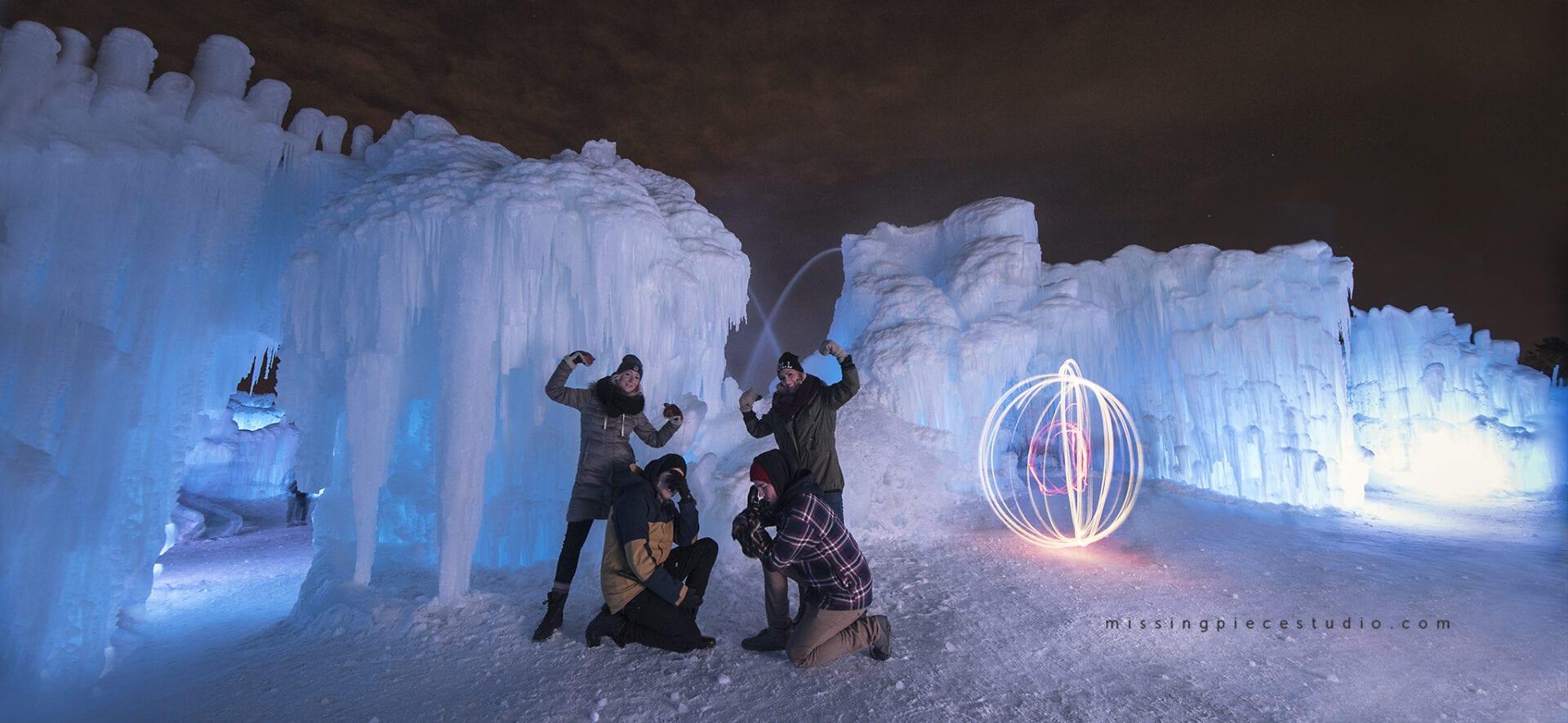 Ice Castles Edmonton Alberta Winter Visit Hawrelak Park-light painting orb