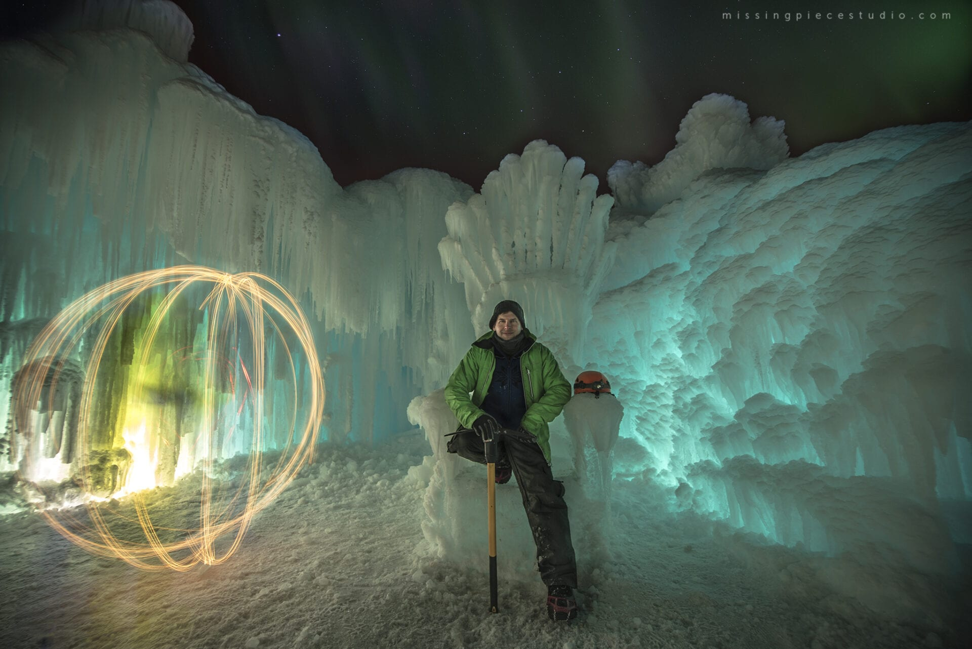 Ice Castles Edmonton Alberta Winter Visit Hawrelak Park-night low light