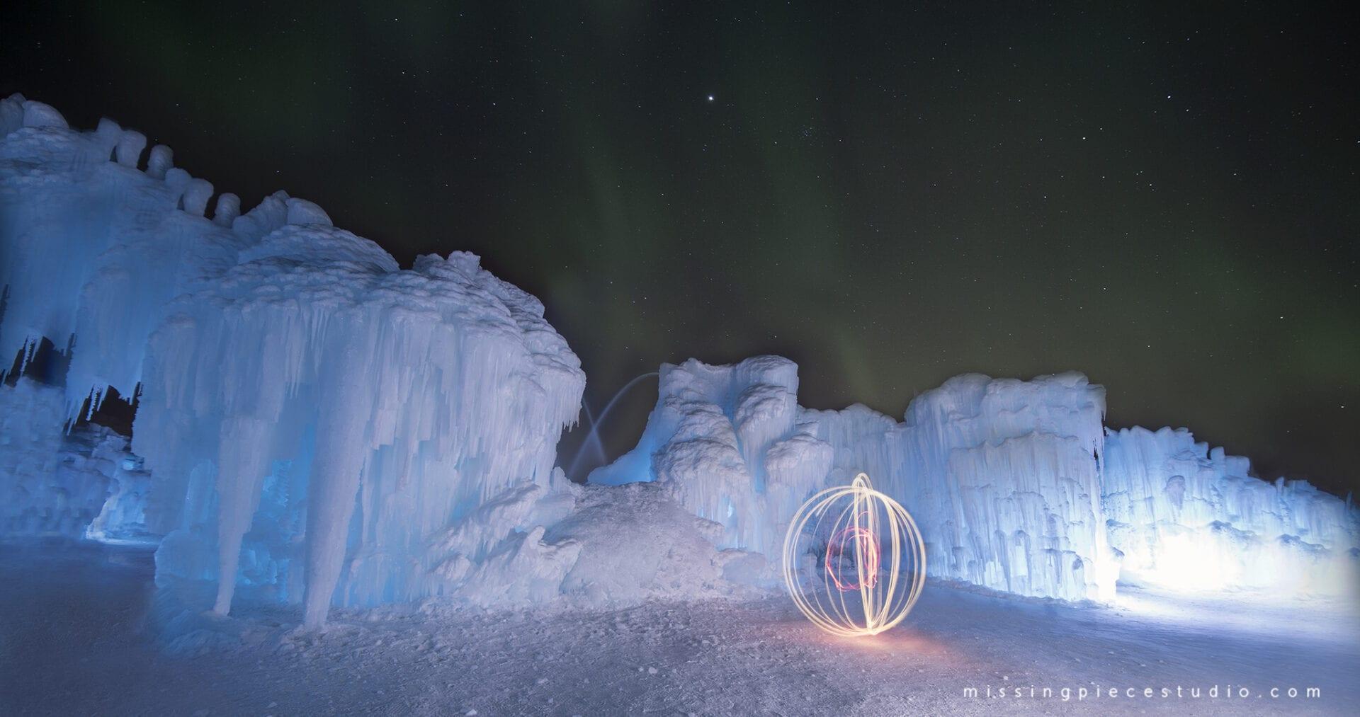 Northern lights under edmonton attraction ice castles