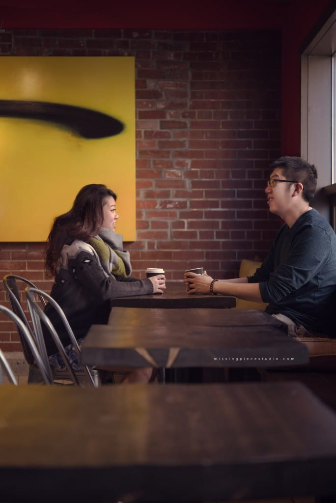 Couple enjoying a cup of coffee at Rosso Coffee House