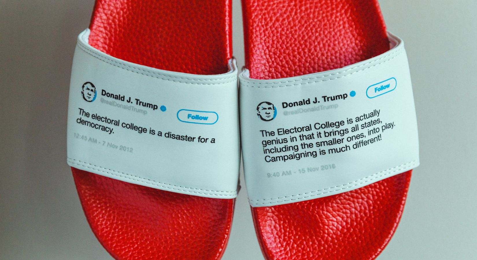 This guy made physical flip-flops out of Trump's contradictory tweets — and he sold out his entire inventory in less than a month
