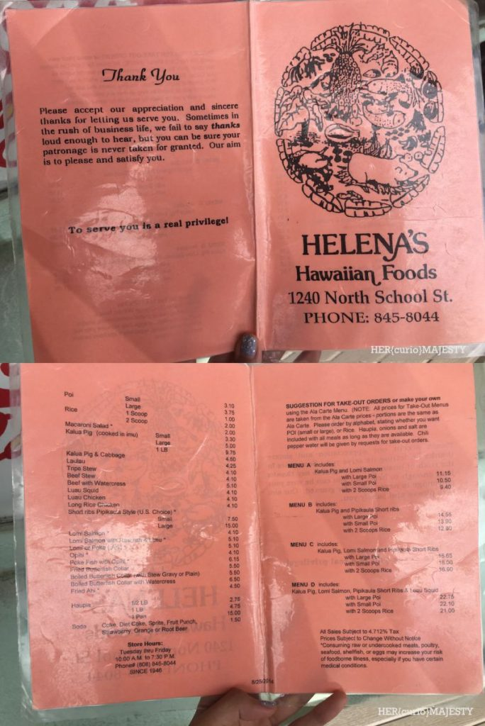 helenas menu
