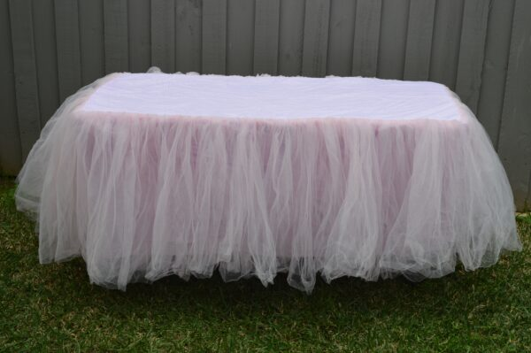 Childrens Light Pink Tulle Tablecloth