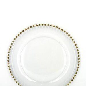 Glass Gold Beaded Charger Plates