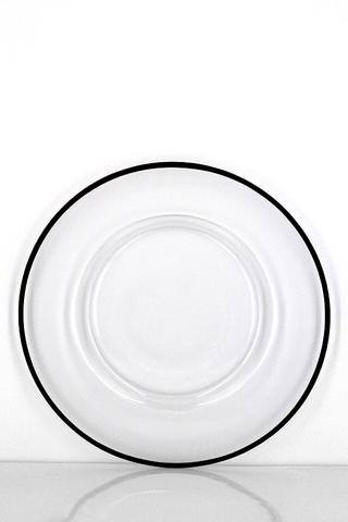 Glass Black Rim Charger Plate