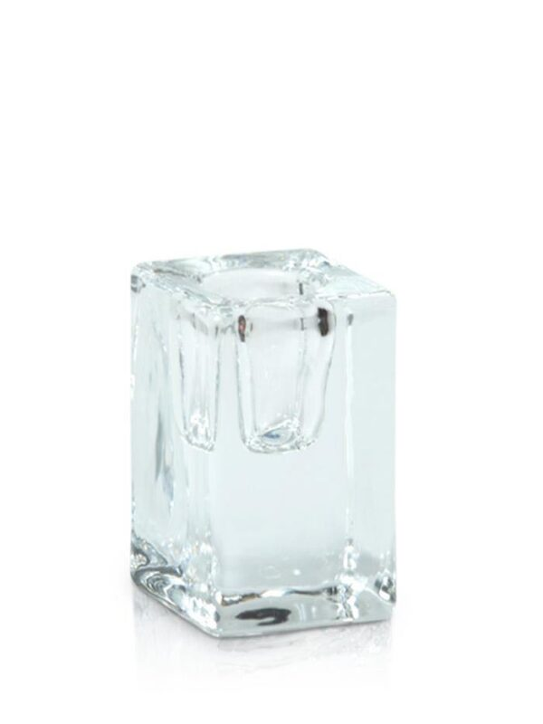 Cube Glass Taper Candle Holder