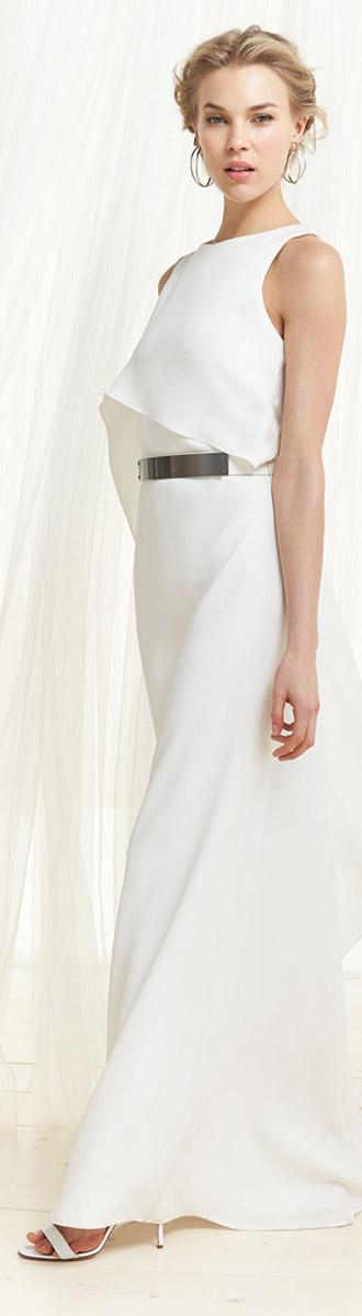 Halston Heritage White Evening Dress