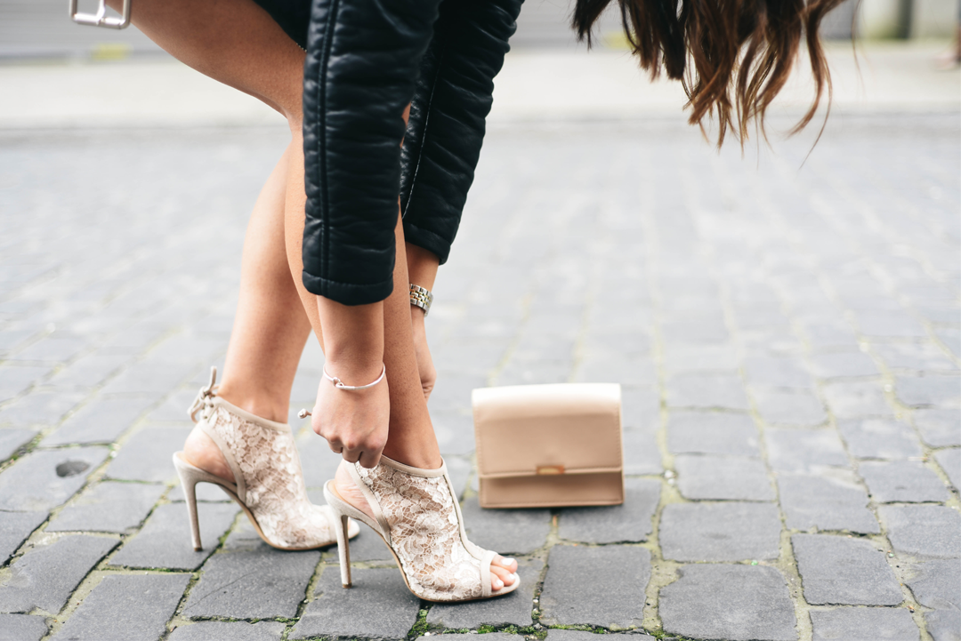M. Gemi Nude Lace Booties