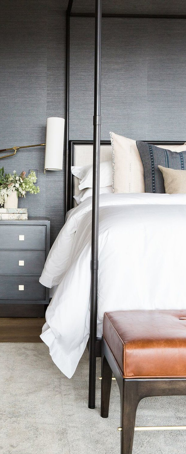 Master Bedroom with Grass Wallpaper, Statement Chandelier & Leather Bench   Studio McGee Design