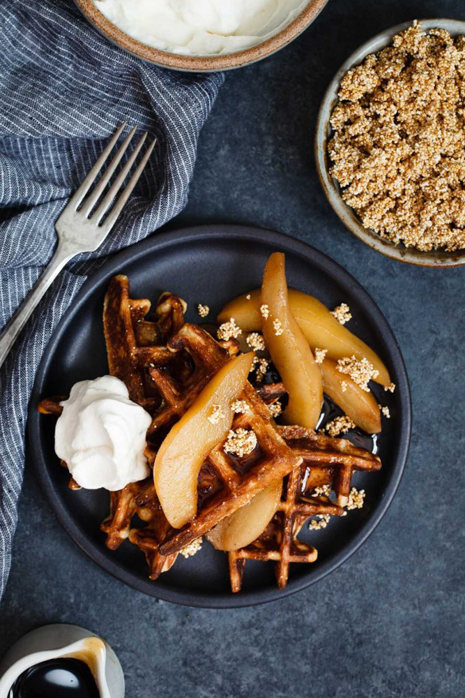 Amaranth Waffles with Chai Poached Pears