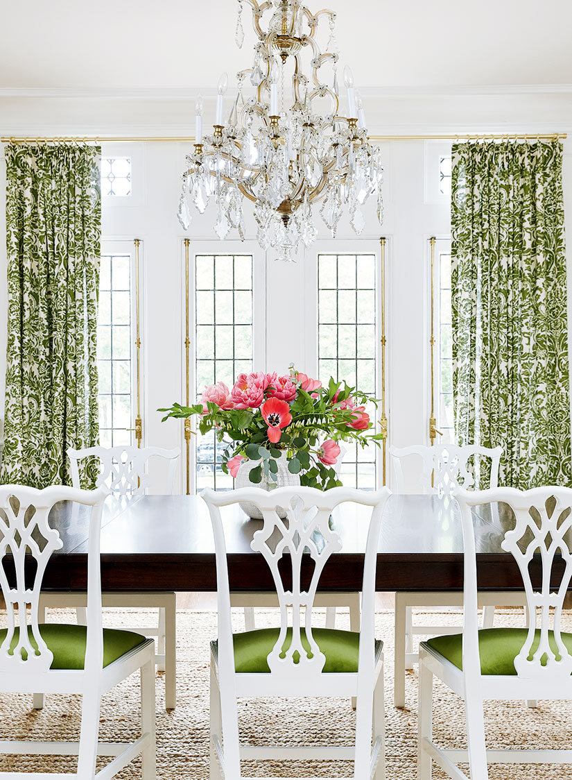 House Beautiful | Green Dining Room Decorating Ideas