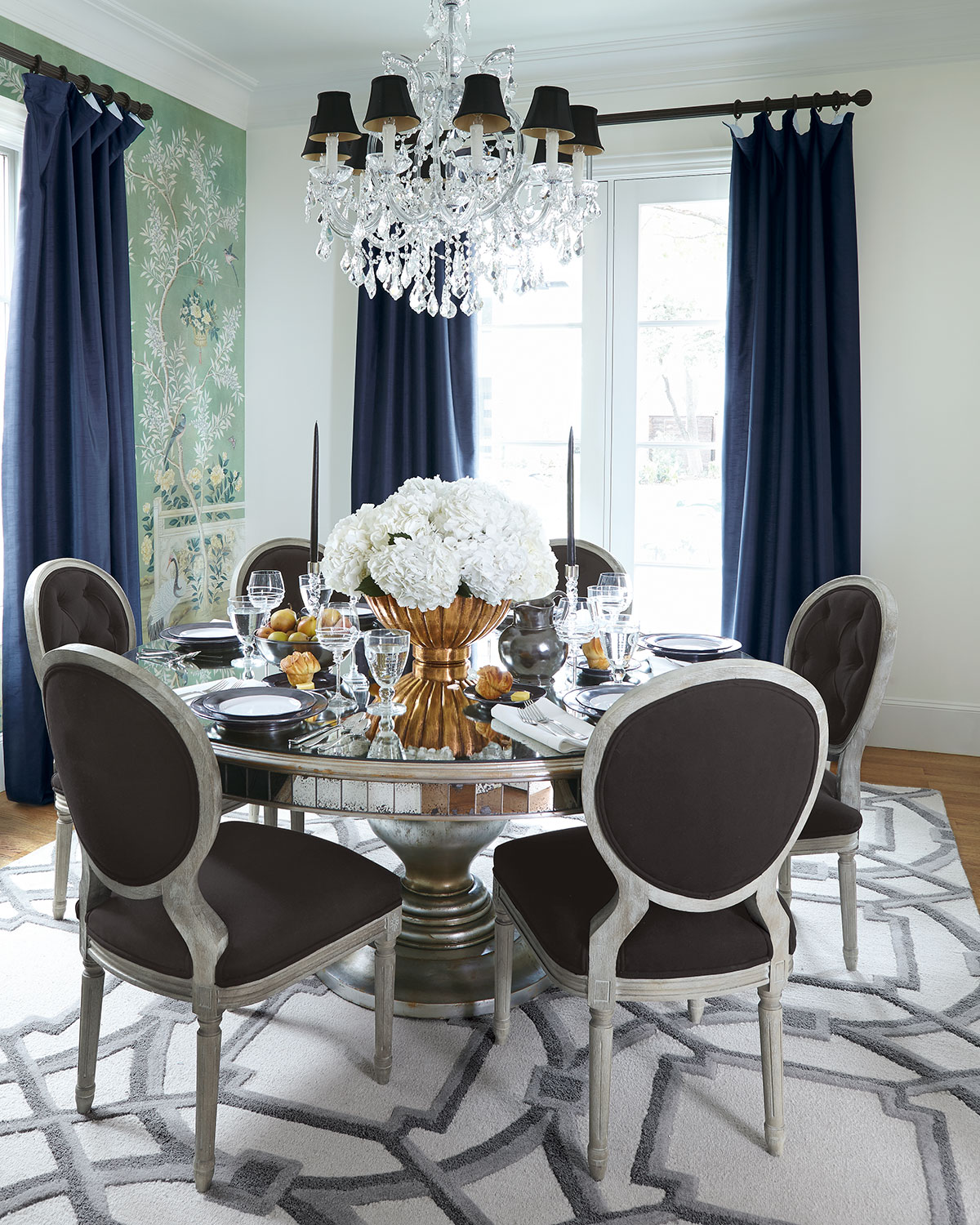 Glamorous Mirrored Round Dining Room Table