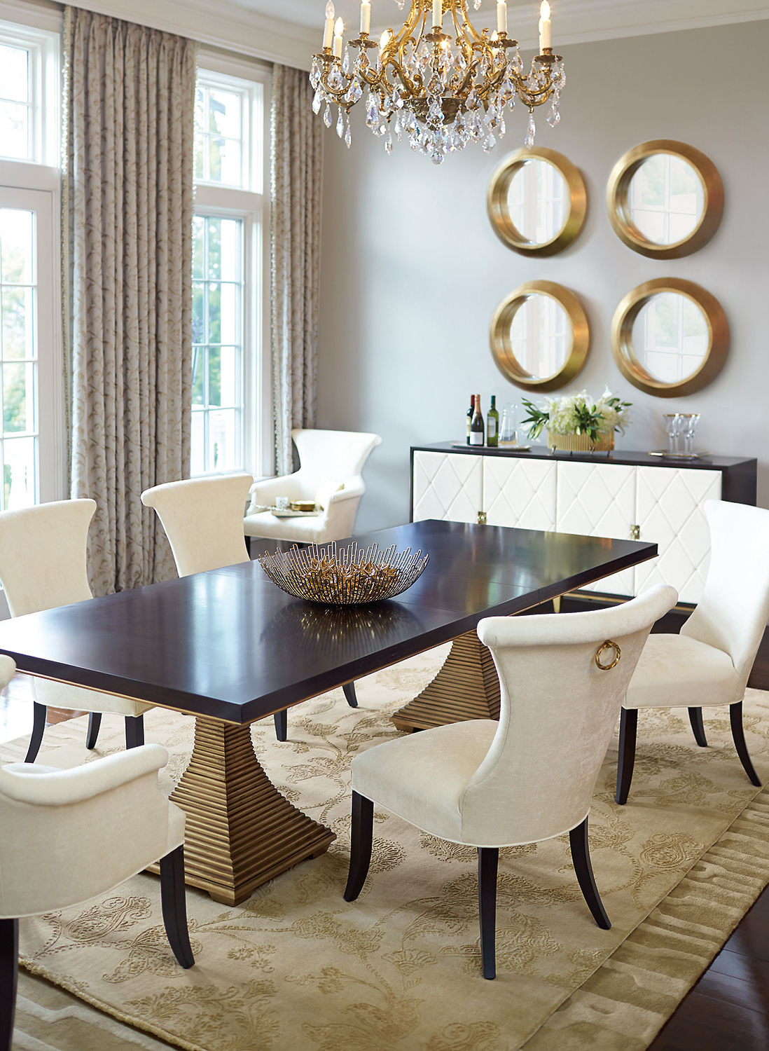 Dining Room with Interior Gold Accents