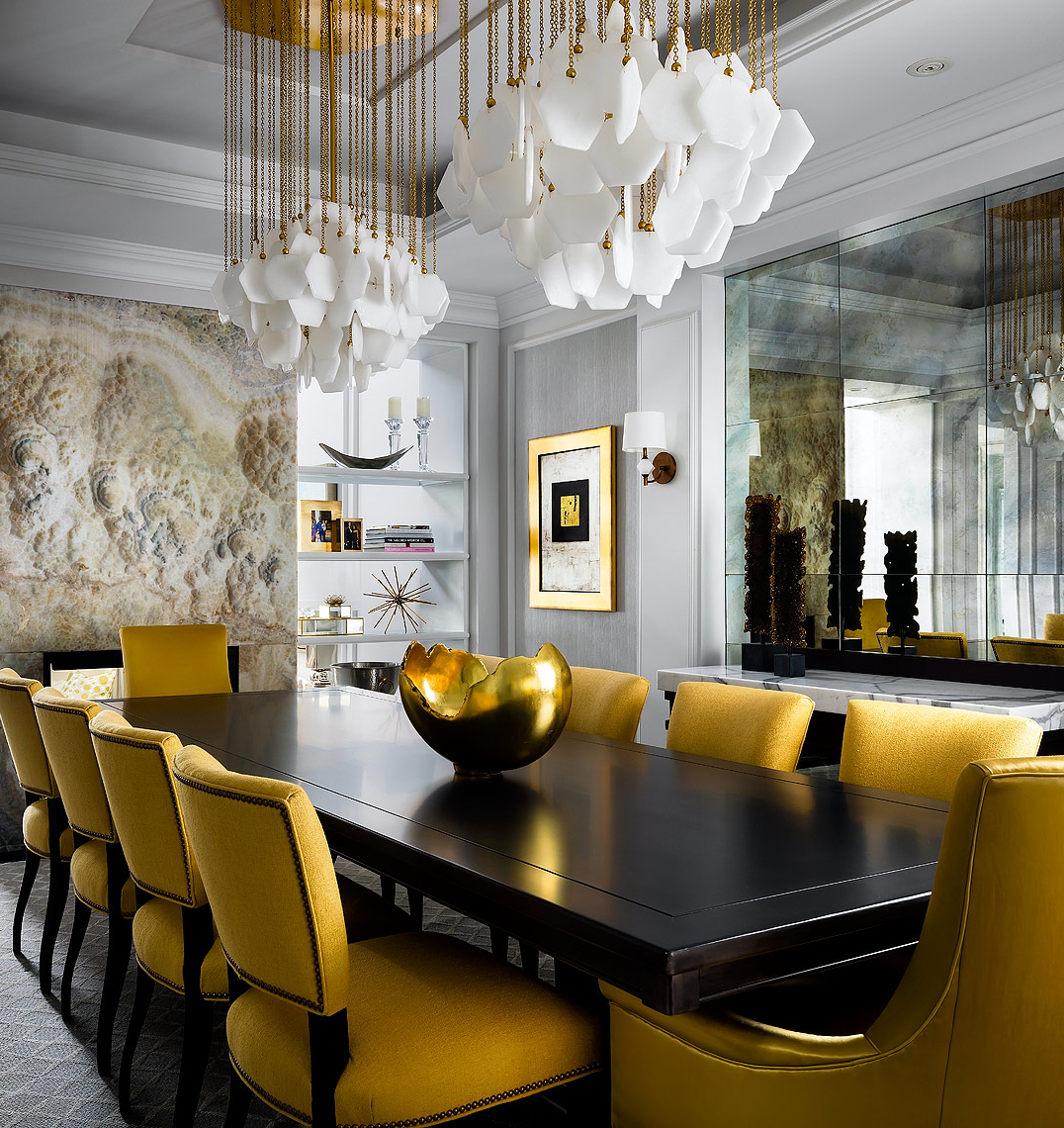 Glamorous Gold Dining Room | Brandon Barre Photography