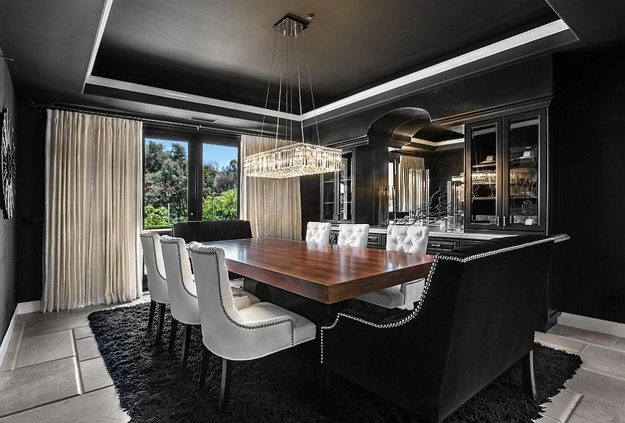 Dramatic Black and White Dining Room
