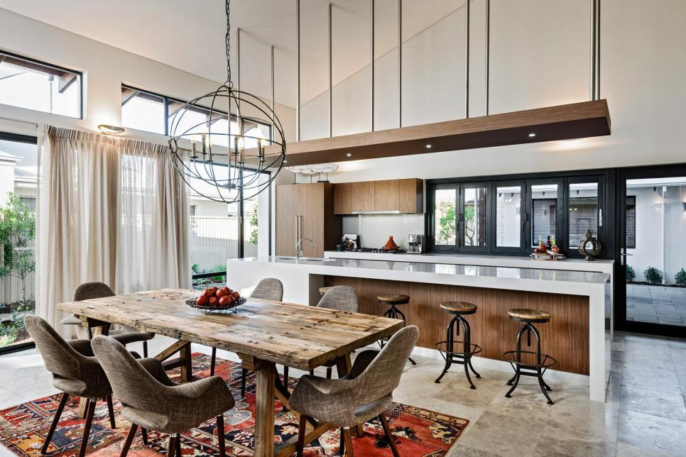 Eclectic Rustic Kitchen with an Open Design